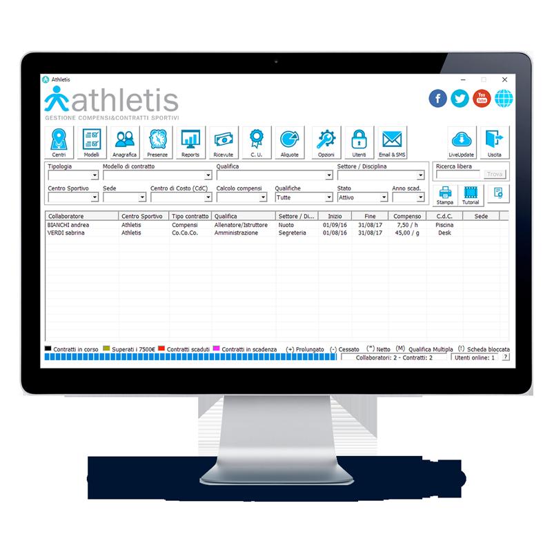 Monitor con schermata principale di Athletis desktop